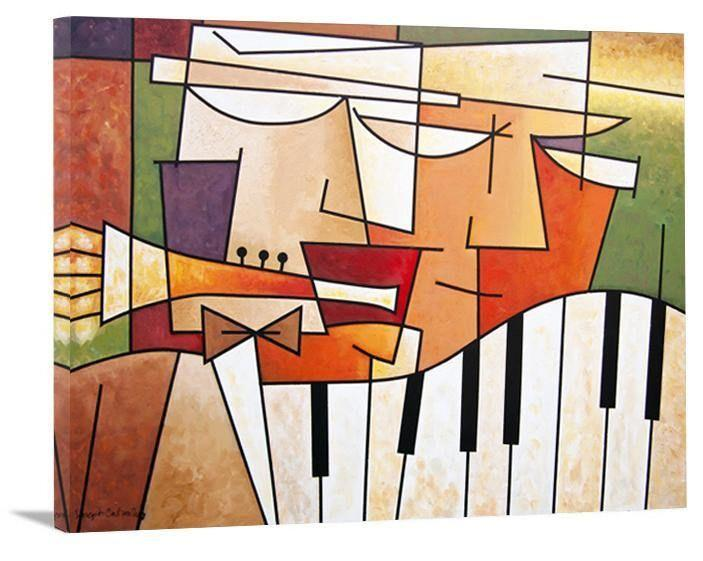 "Music Art  - Print on Canvas - ""Horn and Piano Duet"" - Chicago Skyline Art"