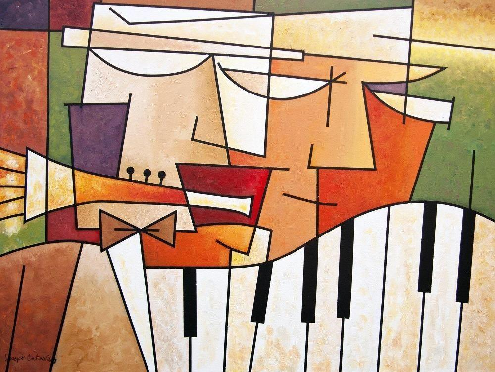 "Musical Art Canvas Wrap Print - ""Horn and Piano Duet"""