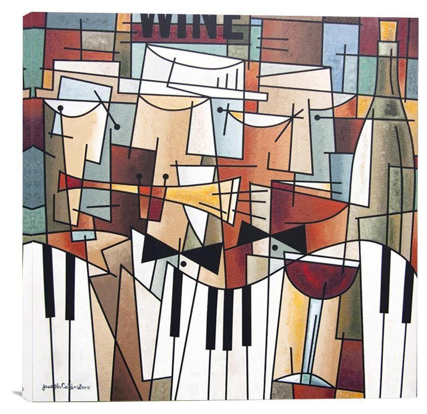 "Wine and Music Art Painting Print - ""Music, Wine and Conversation"""
