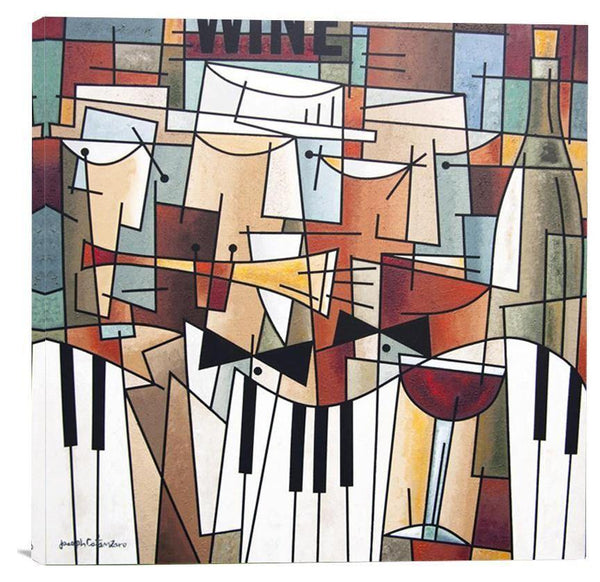 "Wine and Music Art Painting Print - ""Music, Wine and Conversation"" - Chicago Skyline Art"