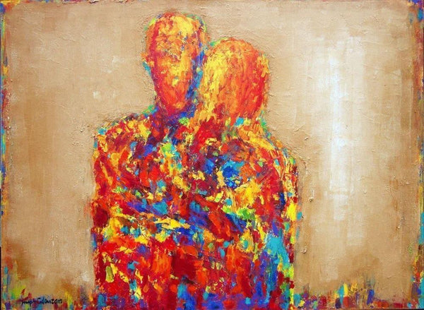 rainbow colored  romantic couple - from an original abstract figurative painting