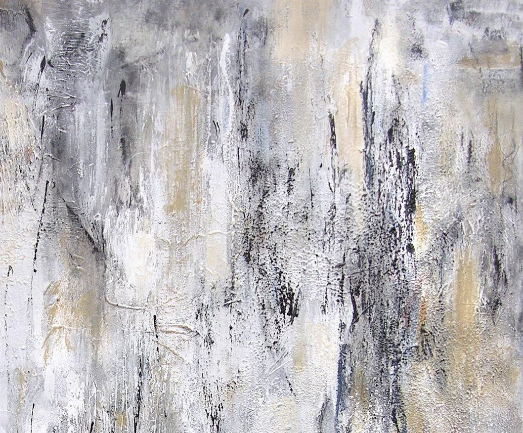 Large black and white and gray abstract painting - detail