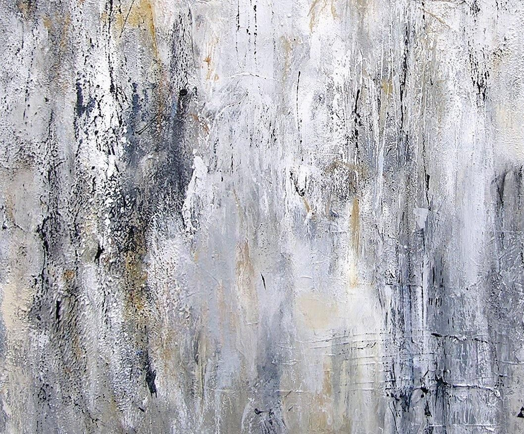 Large black and white and gray abstract painting - detail 2