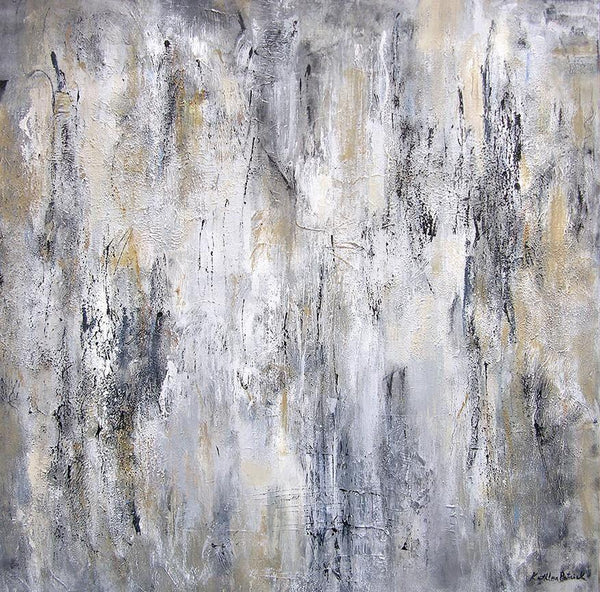 Large black and white and gray abstract painting