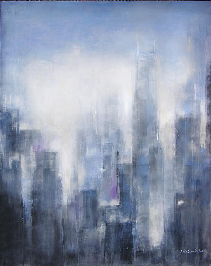 Neutral Abstract Cityscape Canvas Print - Chicago Skyline
