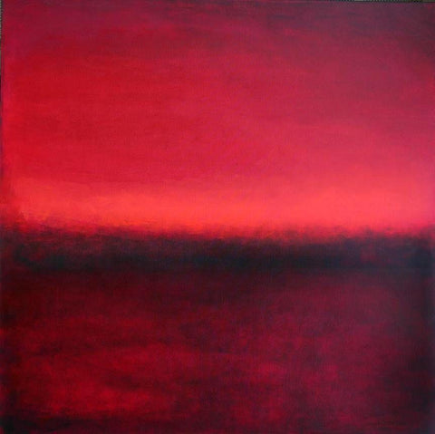 Large red landscape - contemporary painting on canvas.