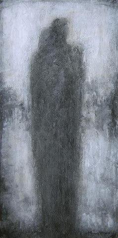Abstract Couple Painting on Canvas in shades of gray