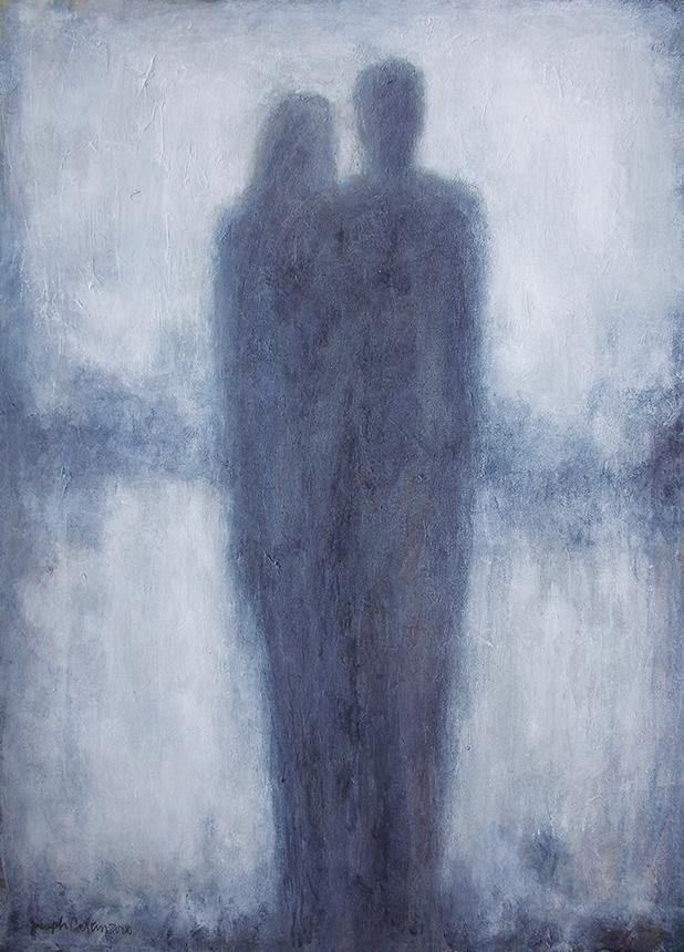 Couple Painting on Canvas - Gray and Blue