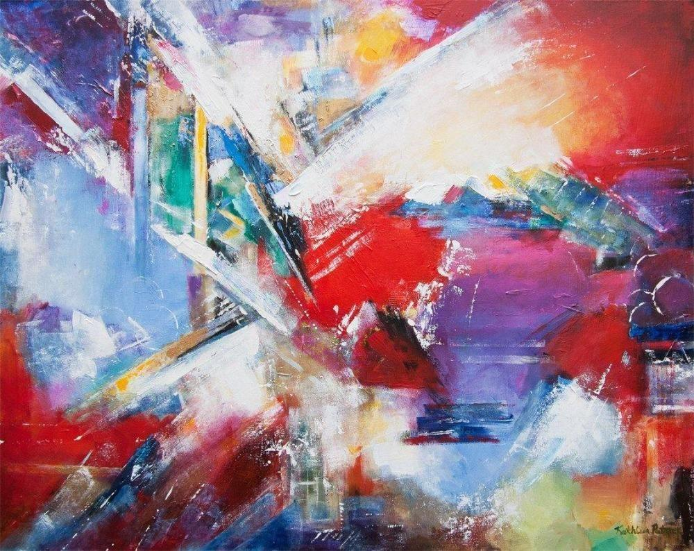 Abstract Painting Print on Canvas with Vibrant Colors