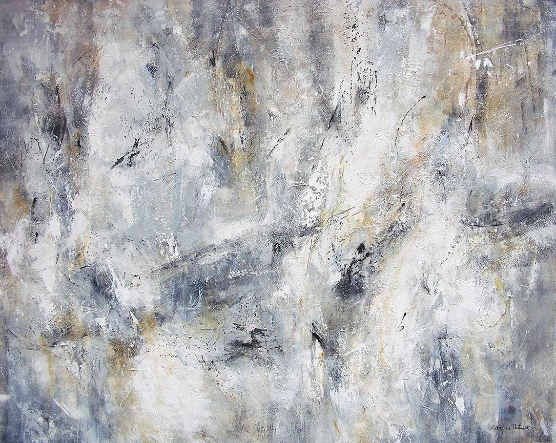 Large black white and gray abstract painting with neutrals