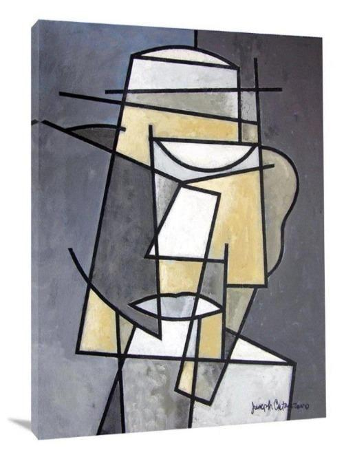"Abstract Canvas Print - Figurative Cubism  - ""Mr. Man"" - Chicago Skyline Art"
