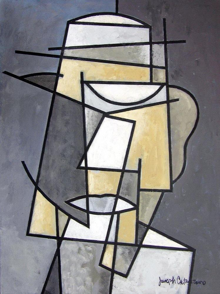 "Gray Abstract Art Canvas Print  - ""Mr. Man"""