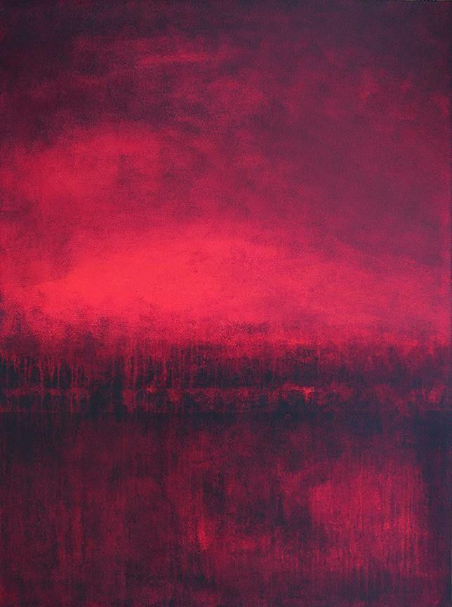 Large Original Red Abstract Painting On Canvas