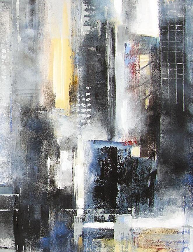 Abstract cityscape painting on canvas - detail