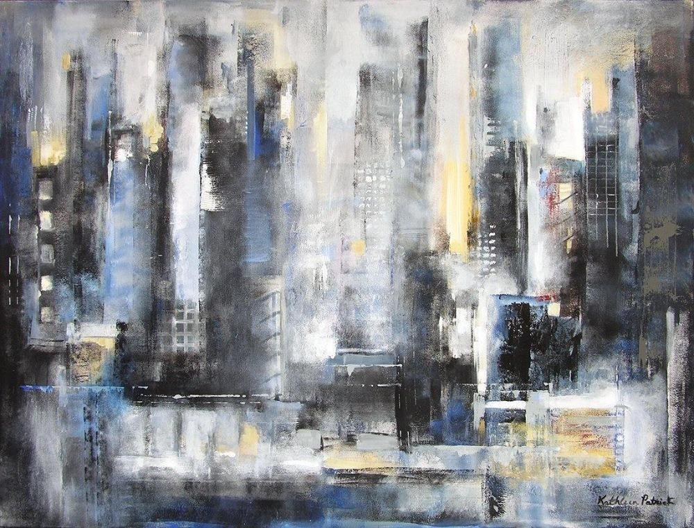 "Abstract Cityscape Canvas Art Print - ""The City View"""
