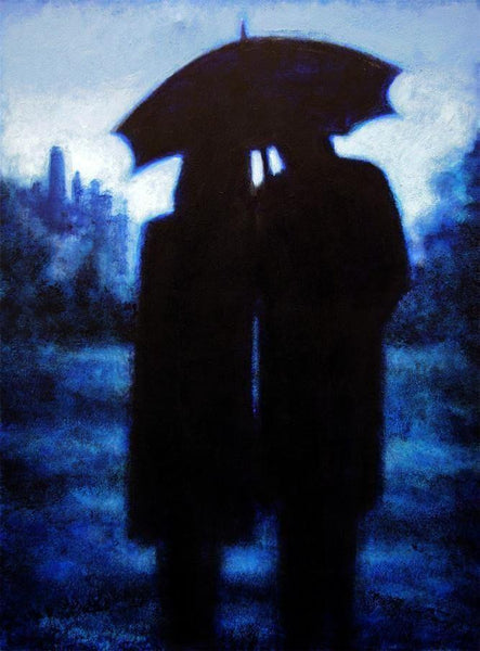 "Romantic Couple Painting Print -""Blue Moon"""