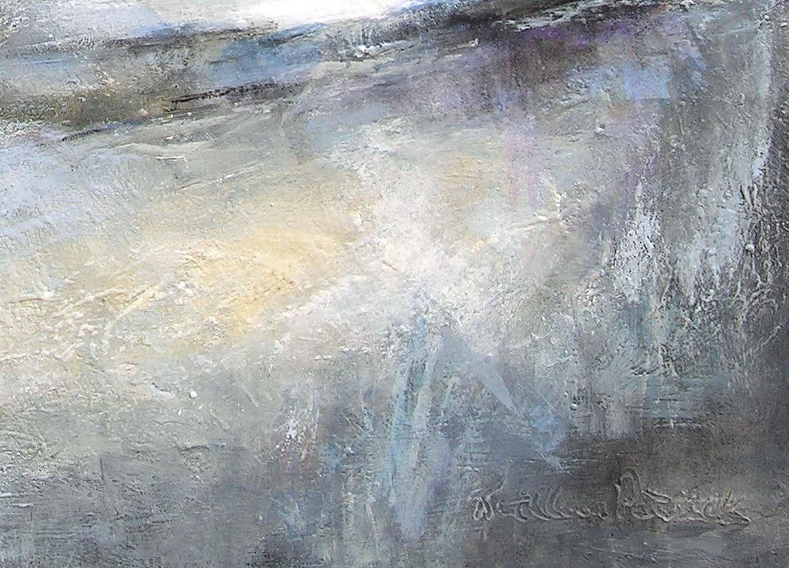 Painting detail -  Landscape painting in neutral colors by Kathleen Patrick