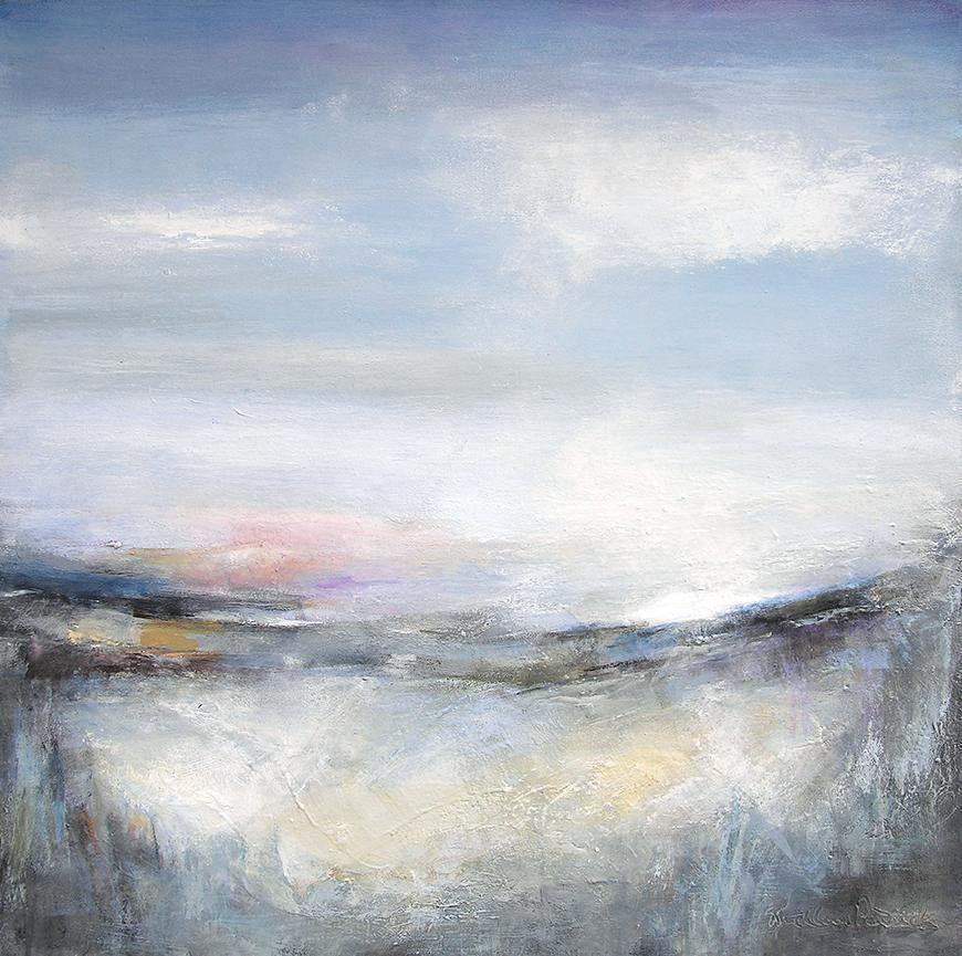 Contemporary landscape painting in neutral colors, heavily textured....36 inch x 36 inch
