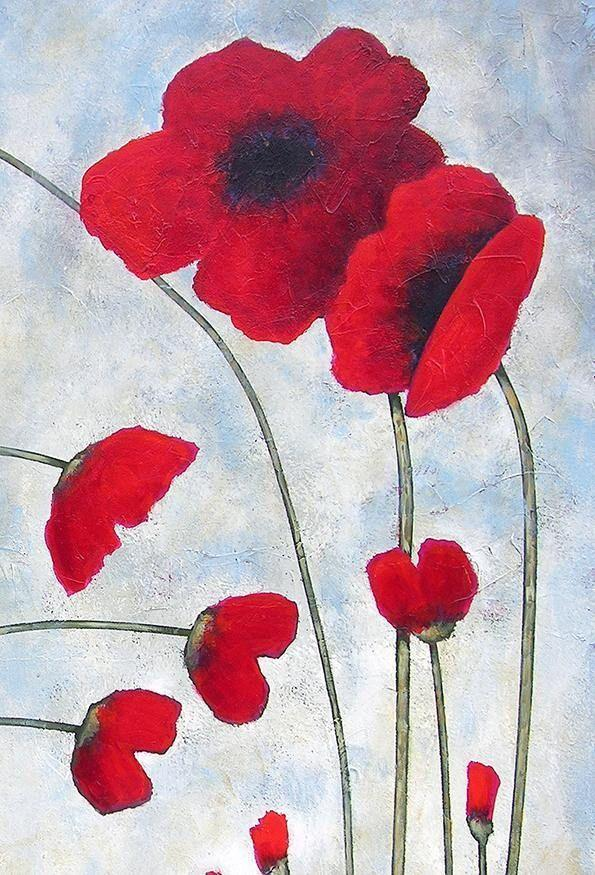Poppy Painting on Canvas - detail.
