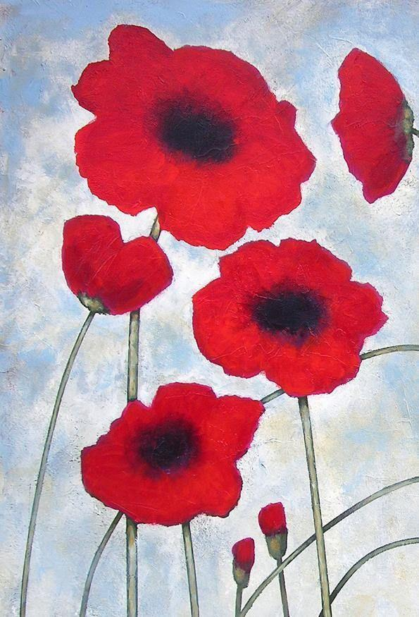 Detail of Poppy Painting on Canvas