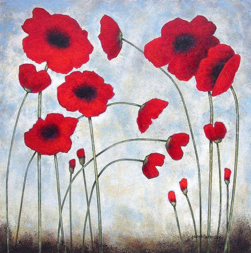 Poppy Painting on Canvas