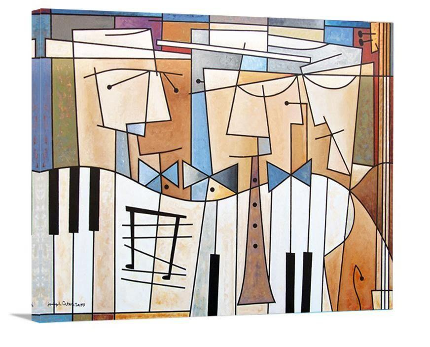 "Music Art Canvas Print - ""Musical Trio"" - Chicago Skyline Art"