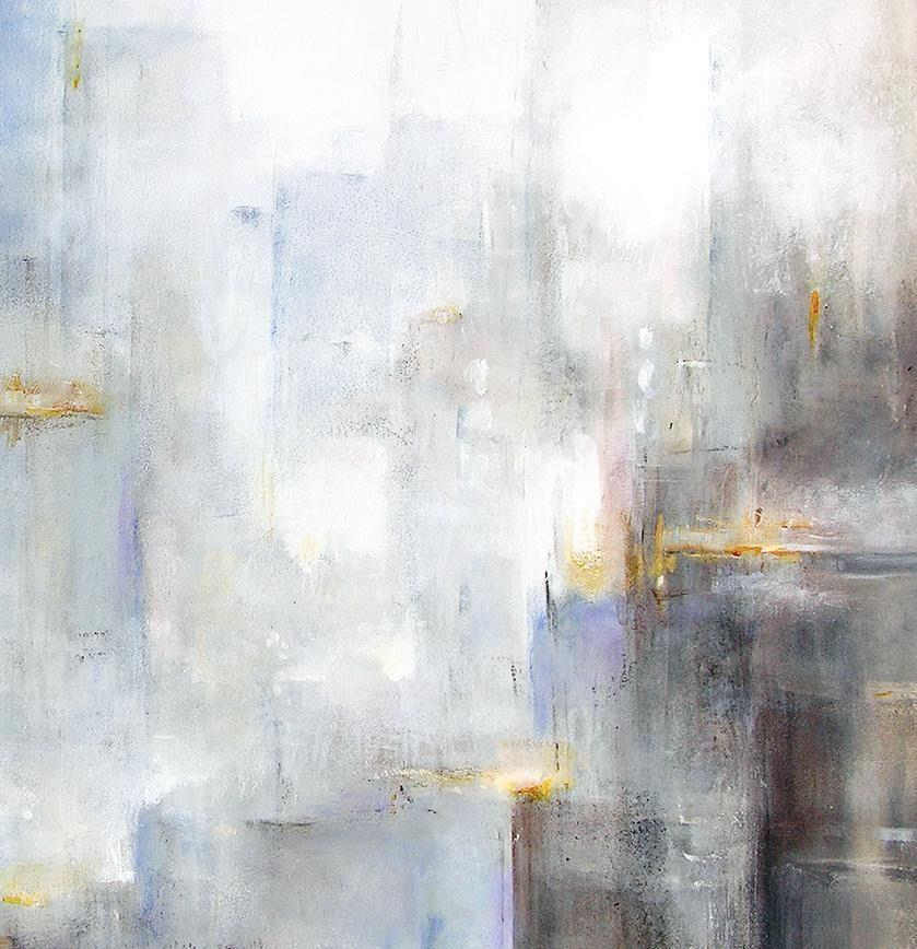 "Abstract Cityscape Painting - ""City in the Morning Mist""- SOLD"