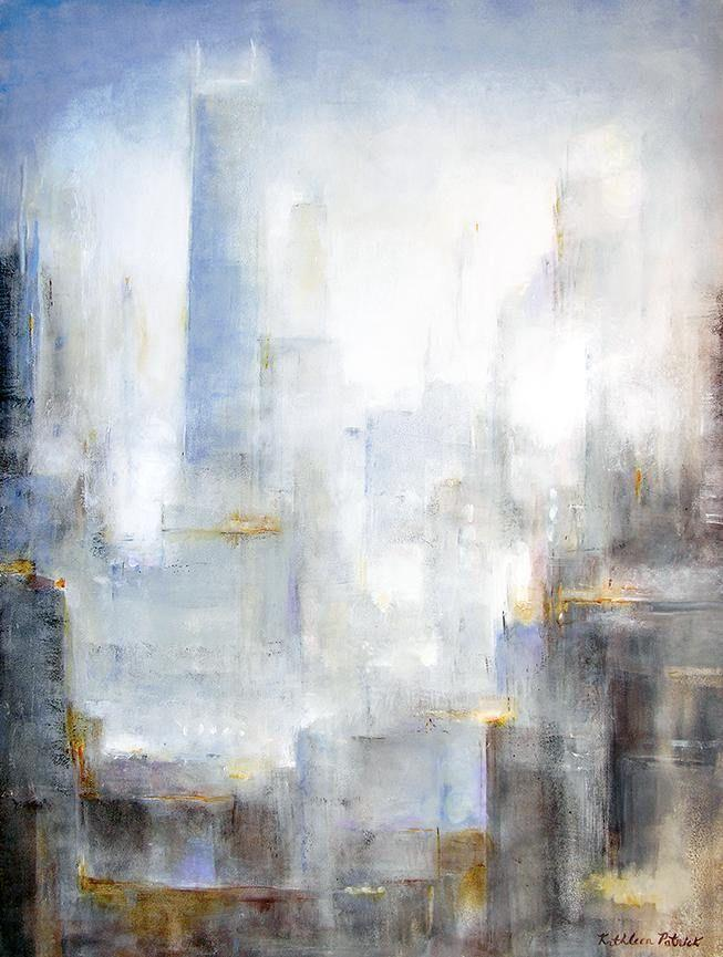 "Abstract Cityscape Painting - ""City in the Morning Mist""  48"" x 36"""