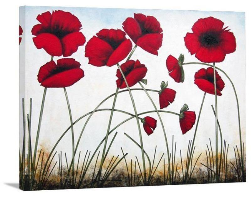 "Red Poppy Wall Art Print -  ""Early Summer Poppies"""