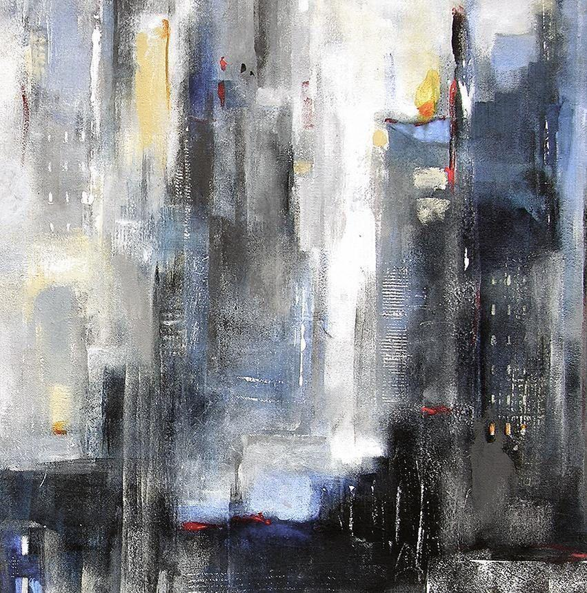 "Abstract Cityscape Painting on Canvas - ""Within the City""  SOLD"