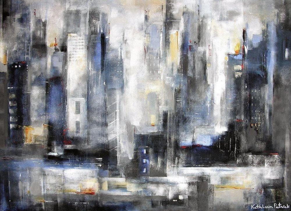 "Abstract Skyline Print on Canvas ""Within the City"""