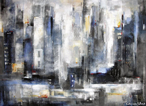 "Abstract Cityscape Painting on Canvas - ""Within the City"" - SOLD"