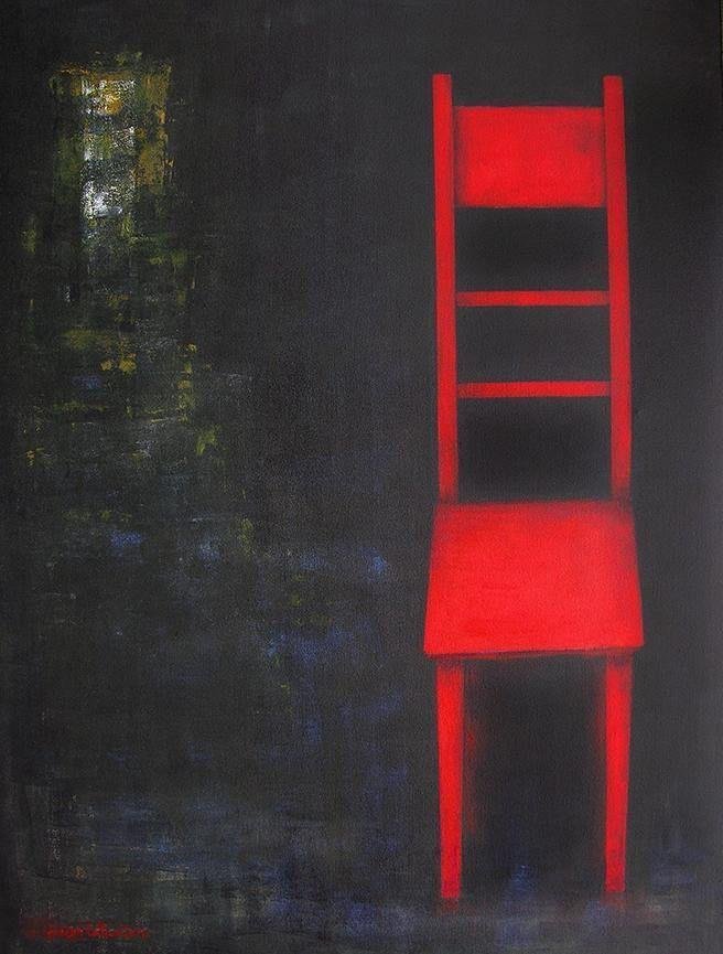 "Large Painting on Canvas - ""The Red Chair"""