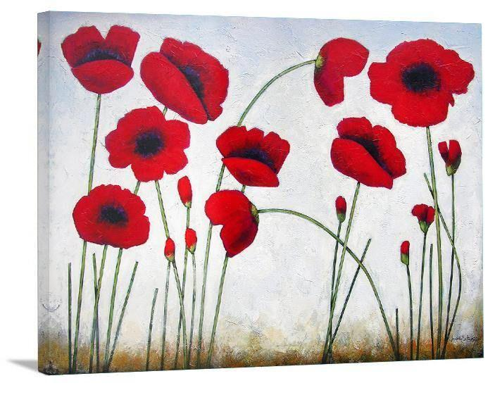 "Poppy Art Print  -  ""Deep Red Poppies"" - Chicago Skyline Art"
