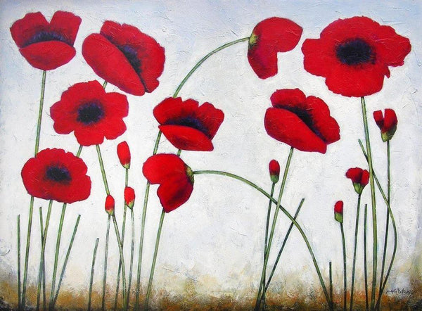 "Red Poppy Canvas Print  -  ""Deep Red Poppies"""