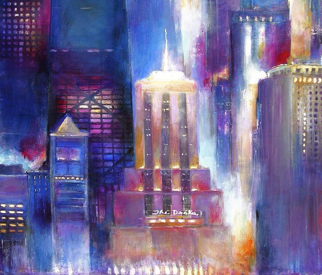 "Painting of Chicago Skyline - ""Moon Over Oak Beach - Chicago"" - 48"" x 36"" x 1.5"""