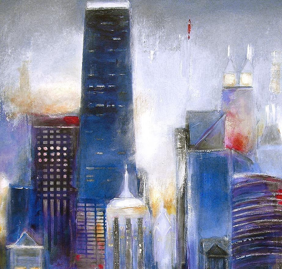 "Original Painting of Chicago- ""Oak Beach Skyline - Chicago"" - 36"" x 48"" x 1.5"""