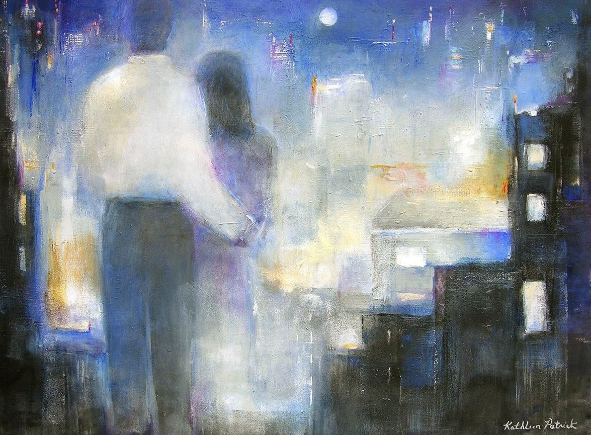 "Romantic Couple Painting on Canvas- ""Together in the City"" - 30"" x 40""   SOLD"