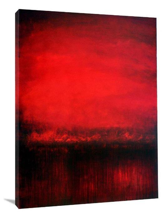 "Red Abstract Landscape Art Print - ""Red Sunrise Dreams"" - Chicago Skyline Art"