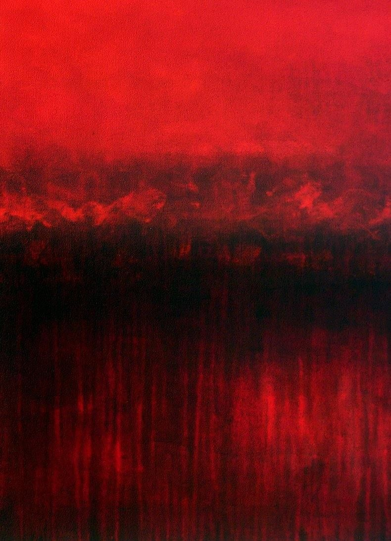 "Large Red Abstract Landscape Painting - 48"" x 36"" - ""Red Sunrise Dream"""