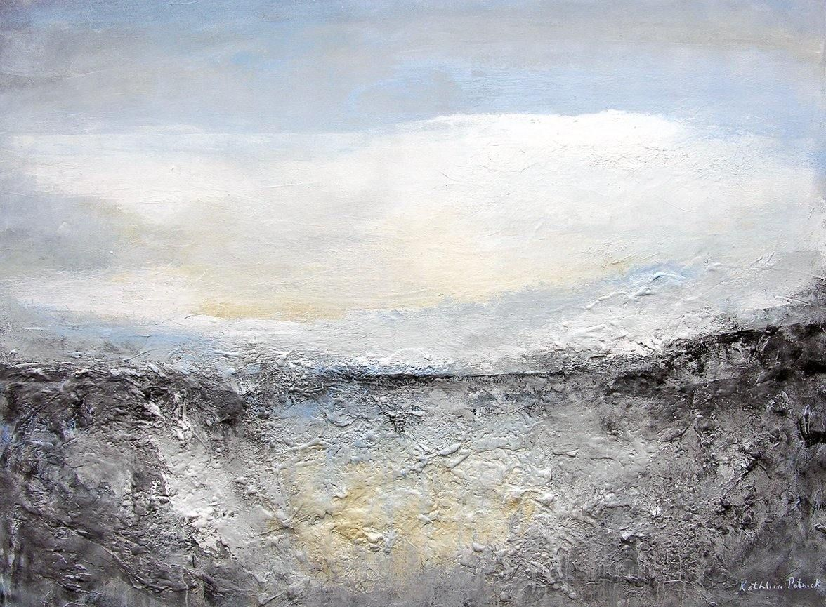 Contemporary landscape painting in neutral colors, heavily textured.