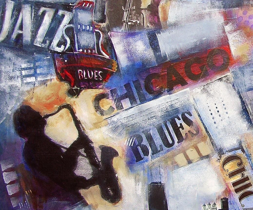 "Jazz Music Painting on Canvas - ""Chicago Jazz and Blues"""