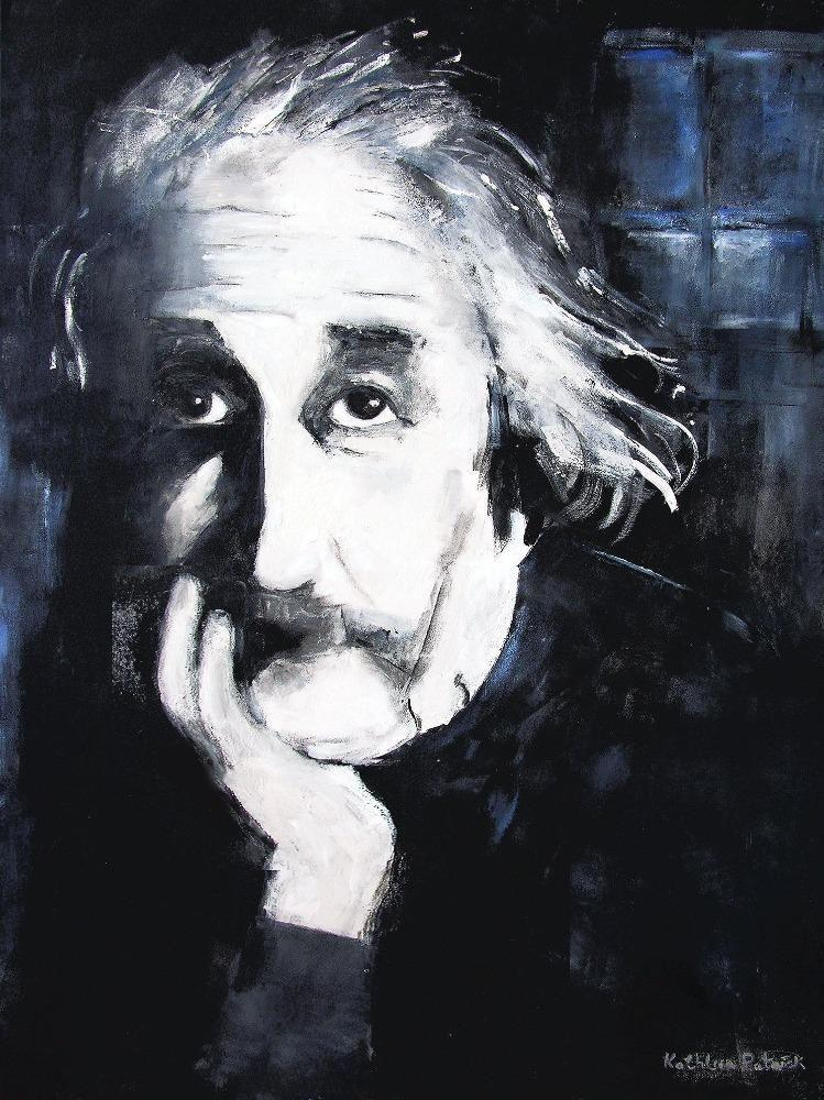 "Neutral colored Einstein portrait print on canvas. - ""Einstein"""