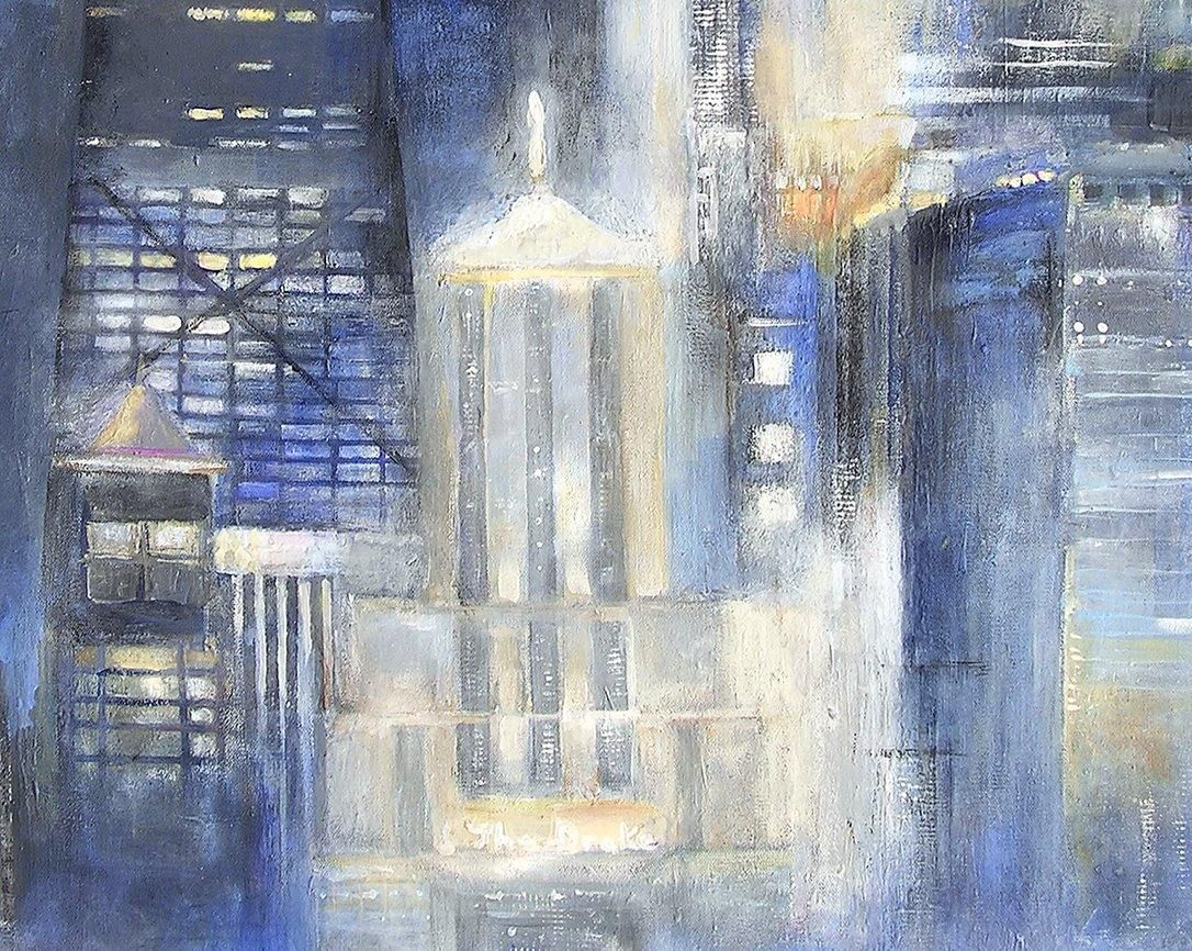 Large original painting of Chicago on canvas. - closeup detail 2