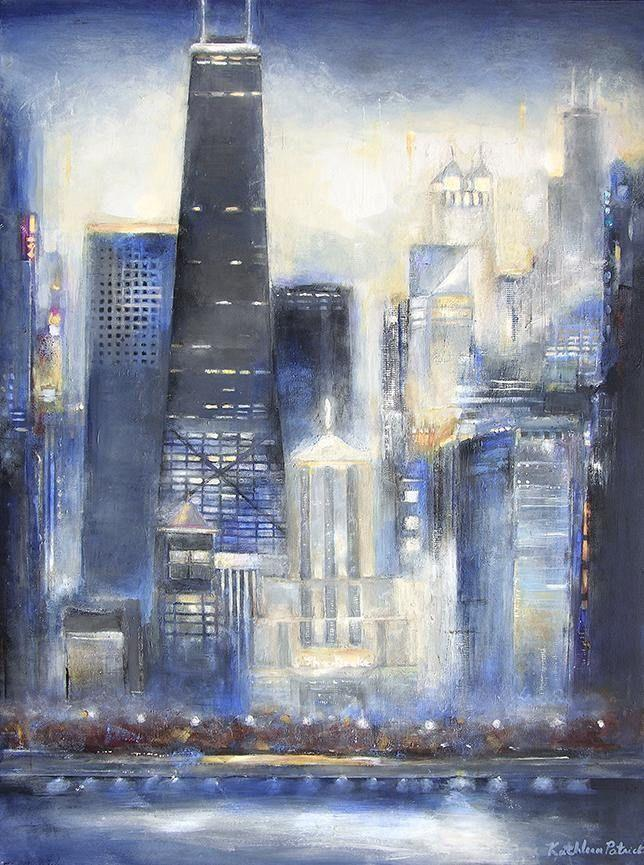 Large original painting of Chicago on canvas.