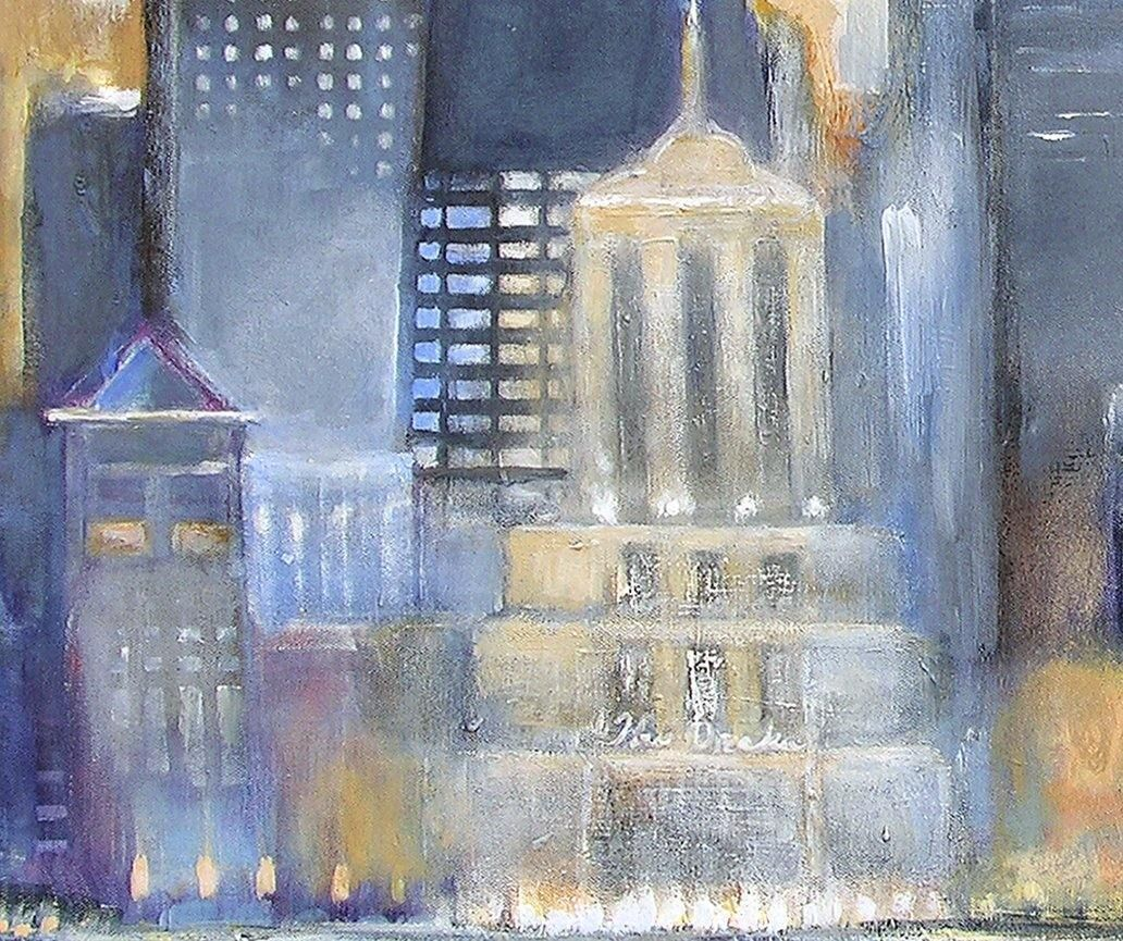 Large original painting of Chicago on canvas. - closeup detail