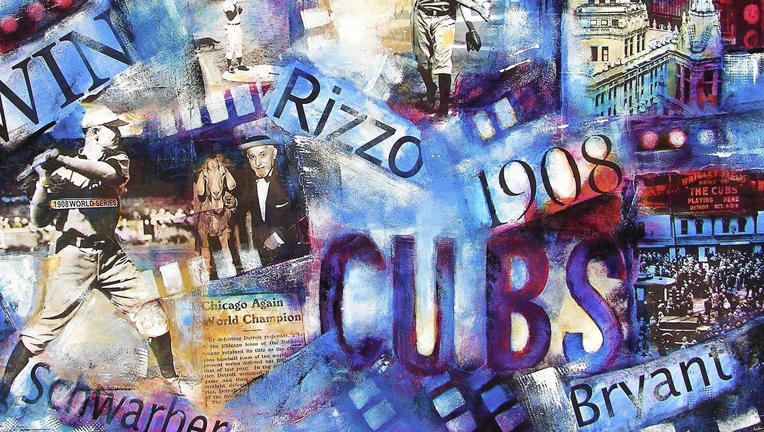 Close-up detail. Chicago Cubs World Series Painting on Canvas