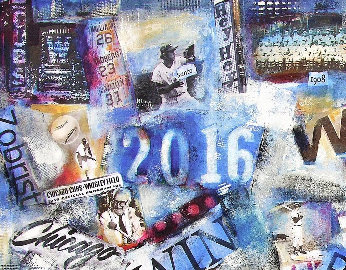 Close-up detail. Chicago Cubs World Series Painting on Canvas.
