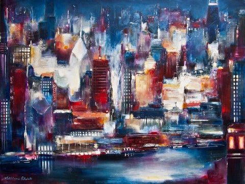 Chicago Skyline at night painting print on canvas