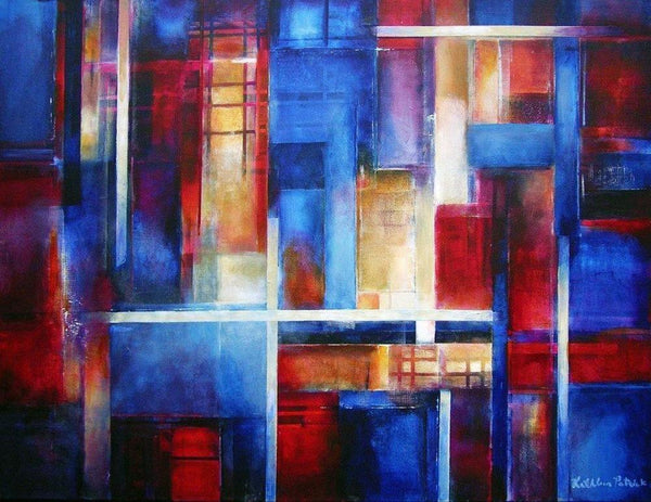 "Colorful Abstract Cityscape Canvas Print - ""City Lights"""
